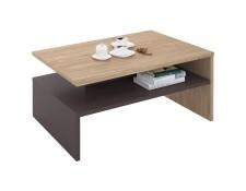 Table basse de salon ADELAIDE rectangulaire avec rangement mélaminé décor  chêne sonoma et gris mat IDIMEX 179f54f1b0d7