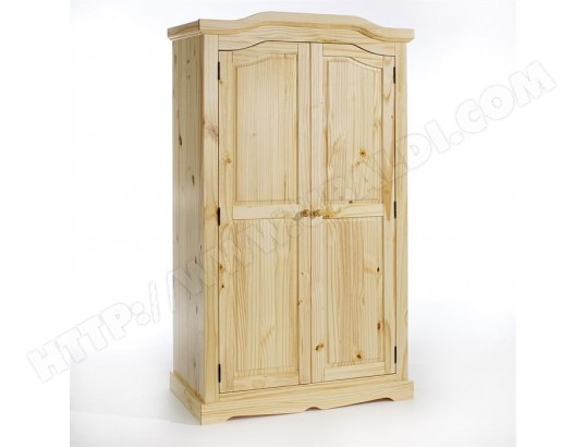 armoire penderie 2 portes pin massif vernis nature idimex ma 85ca194armo 6n3it pas cher. Black Bedroom Furniture Sets. Home Design Ideas