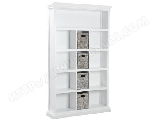 biblioth que en manguier teint et poelet blanchi dim 120 x 30 x 200 cm pegane pegane ma. Black Bedroom Furniture Sets. Home Design Ideas