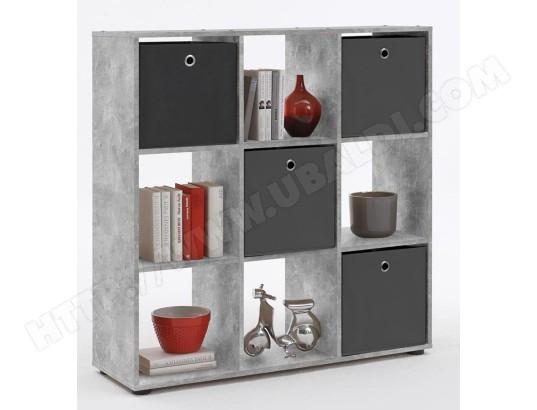 biblioth que 9 casiers coloris gris b ton la dim 104 5 x 108 5 x 33 cm pegane pegane ma. Black Bedroom Furniture Sets. Home Design Ideas