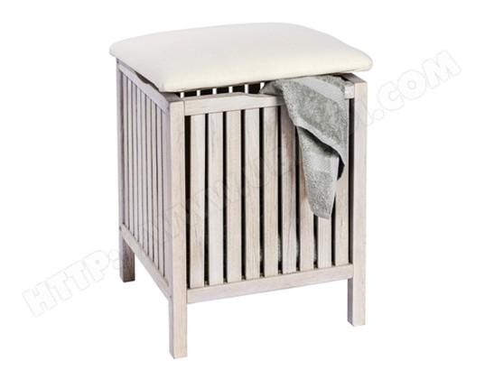 Tabouret de salle de bain en bois blanc cerusé - Dim : 39 x 52 x 39 ...