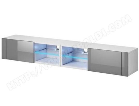 Meuble tv design coloris blanc gris brillant avec clairage led bleue pegane pegane ma - Eclairage led pour meuble tv ...