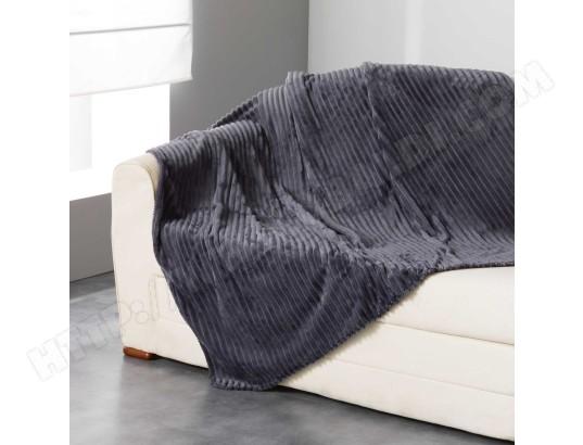 plaid flanelle jacquard zeline 180 x 220 cm gris anthracite douceur d 39 interieur ma. Black Bedroom Furniture Sets. Home Design Ideas