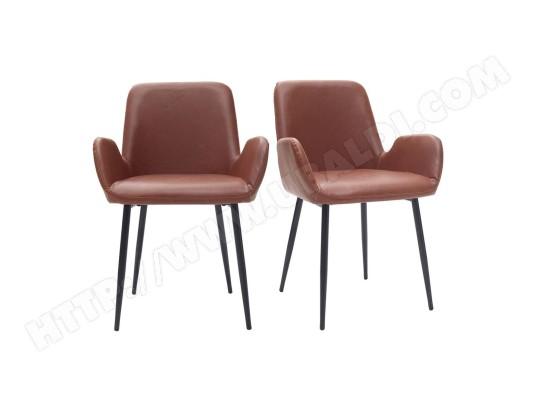 fauteuils vintage marron clair avec pieds m tal noirs lot de 2 tika miliboo ma 78ca493faut. Black Bedroom Furniture Sets. Home Design Ideas