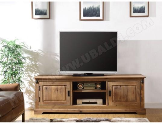 Meuble TV YSANDRE - 2 portes & 2 niches - Chêne massif VENTE-UNIQUE ...