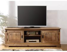 Meuble TV YSANDRE - 2 portes   2 niches - Chêne massif VENTE-UNIQUE MA 67e86e70b235