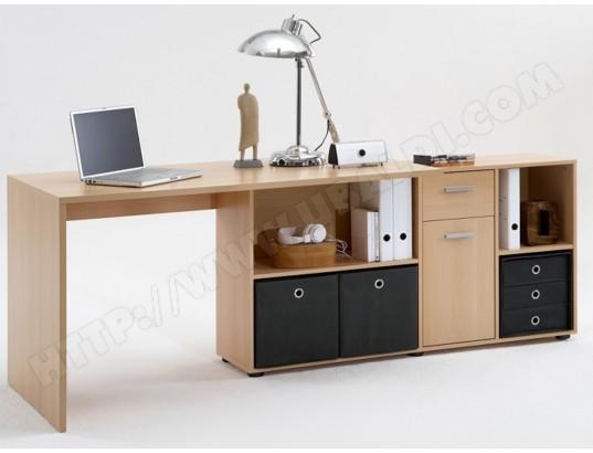 Bureau angulaire réversible en bois coloris hêtre dim l x