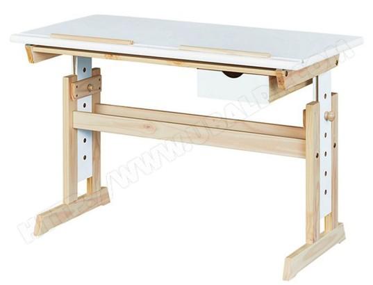 Bureau en pin massif laqué blanc avec tiroir dim l h