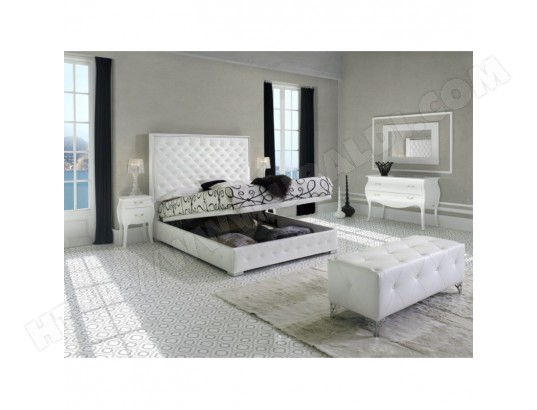 lit coffre avec sommier 180x200cm en simili cuir blanc aconca ma maison mes tendances ma. Black Bedroom Furniture Sets. Home Design Ideas
