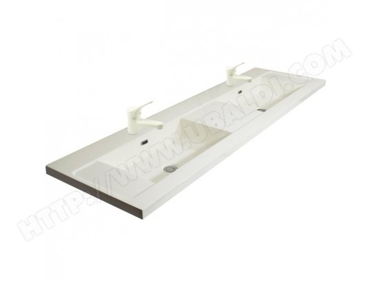 double vasque en marbre de synth se 140 cm avec 2 robinets blanc de salle de bain tbd ma. Black Bedroom Furniture Sets. Home Design Ideas
