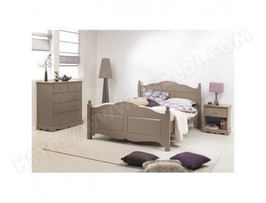 beaux meubles pas chers chambre taupe lit 140 commode chevet 1400501