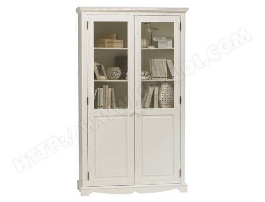 Bibliotheque Blanche 2 Portes De Style Anglais Beaux Meubles Pas