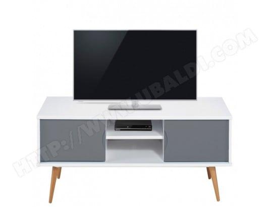 Meuble Tv Blanc Gris 2 Portes 4 Pieds Chene Vintage Beaux Meubles Pas Chers 9314bg Pas Cher Ubaldi Com