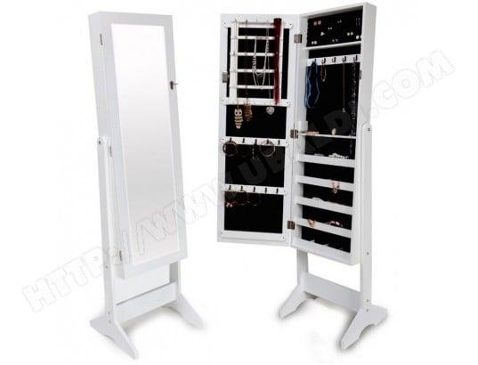 Armoires placard à bijoux bois blanche miroir chambre ...
