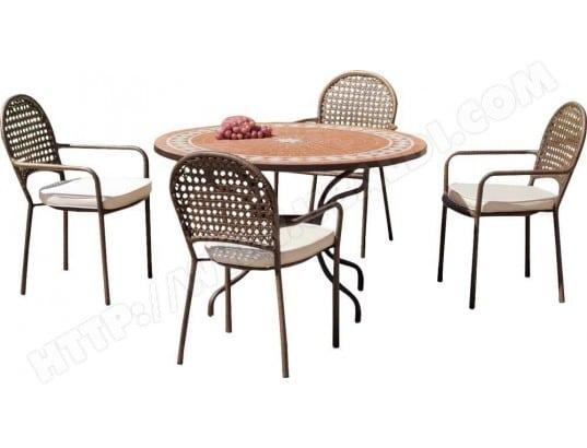 Salon De Jardin Table Ronde Et Fauteuils 4 Places Hevea 16041 Pas