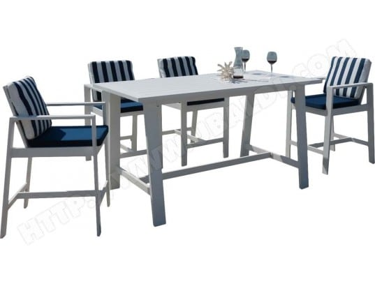 salon de jardin haut en aluminium 4 personnes martigues hevea 26366 pas cher. Black Bedroom Furniture Sets. Home Design Ideas