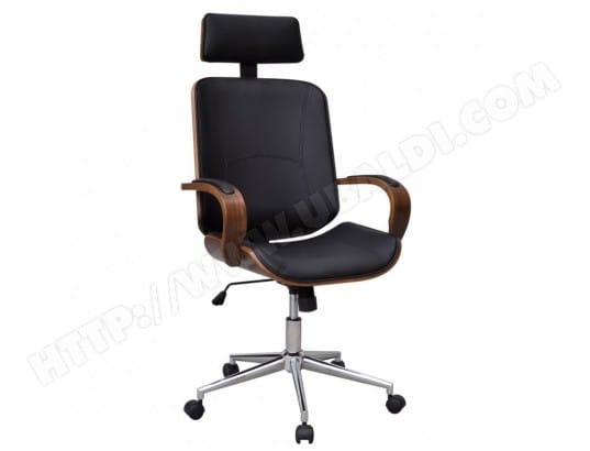 Fauteuil chaise siège de bureau en bois de noyer avec repose tête
