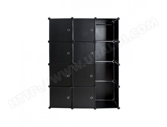 armoire de rangement meuble penderie tag re 150 cm noir 2008042 helloshop26 2008042 2 pas cher. Black Bedroom Furniture Sets. Home Design Ideas