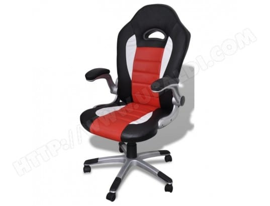 Fauteuil de bureau sport ergonomique noir rouge