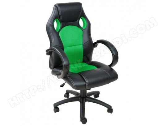 fauteuil de bureau chaise si ge sport ergonomique confortable noir et vert 0508009 helloshop26. Black Bedroom Furniture Sets. Home Design Ideas