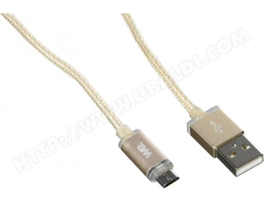 Cable USB We vers micro USB LED 1m (or) avec indicateur de charge WE 124317