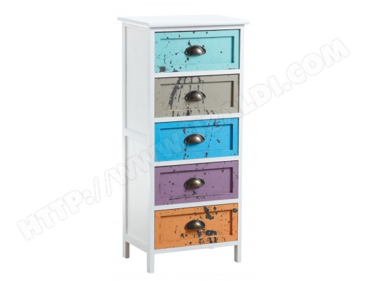 commode 5 tiroirs multicolores aubry gaspard 14949 pas cher. Black Bedroom Furniture Sets. Home Design Ideas