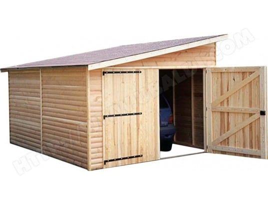 Garage en bois avec porte double kompact cihb 26643 pas for Cihb