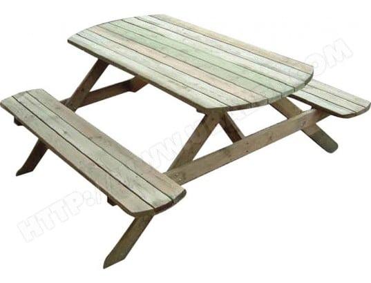 table pique nique avec bancs en bois rondo cihb 26648 pas cher. Black Bedroom Furniture Sets. Home Design Ideas