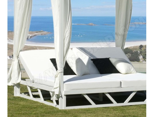 Bain de soleil double en aluminium avec rideaux abalia - Bain de soleil double pas cher ...