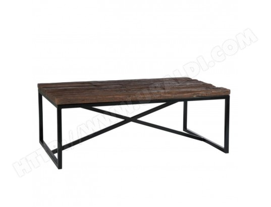 Table basse rectangulaire exotique en bois et métal naturel ...