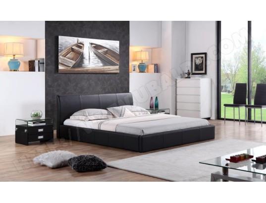 Lit Design En Simili Cuir Noir 180x200 Cm Blanc Cadentro Ma
