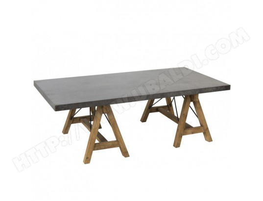 table de salon industriel pieds tr teaux bois naturel et. Black Bedroom Furniture Sets. Home Design Ideas