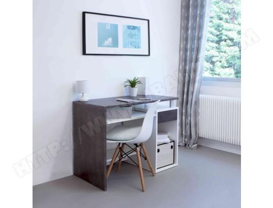 Bureau en bois blanc et noyer avec tablette à clavier coulissante