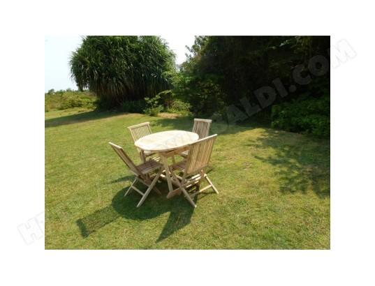 Ensemble Table de jardin ovale en teck extensible 110-170x90 ...
