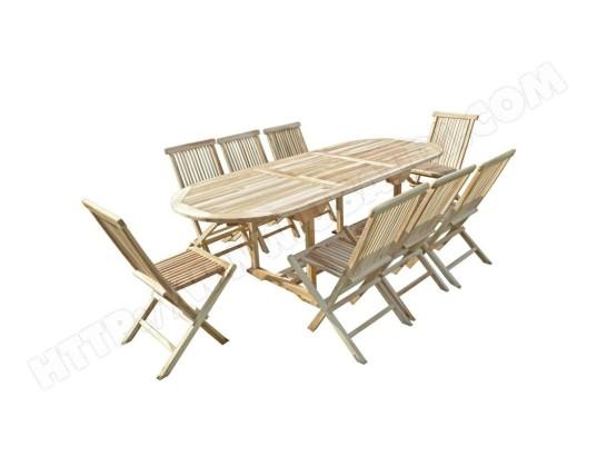 Ensemble Table de jardin ovale en teck extensible 170-230x90 ...