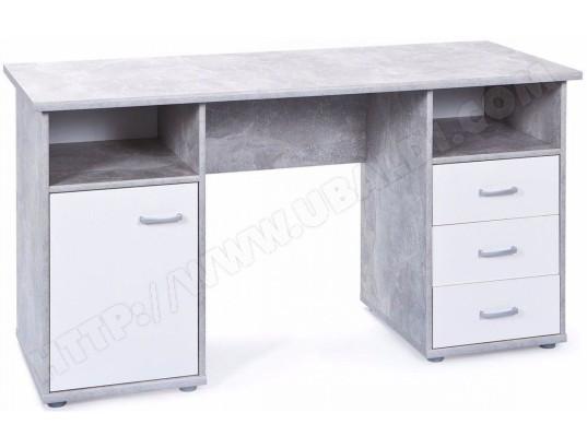 Bureau moderne 148 cm avec 1 porte et 3 tiroirs coloris blanc et