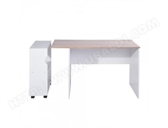 Ensemble bureau et étagère à roulettes en bois de chêne calicosy
