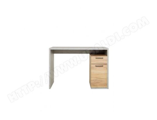Bureau 1 porte 1 tiroir en bois gris et imitation chêne bu7075