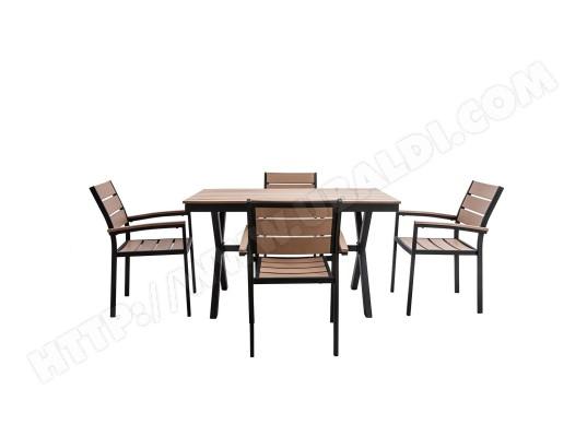 Salon de jardin avec table et 4 chaises noir et bois VIAGGIO MILIBOO ...