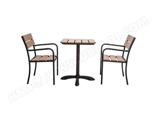 Salon de jardin avec table bistrot et 2 chaises noir et bois ...