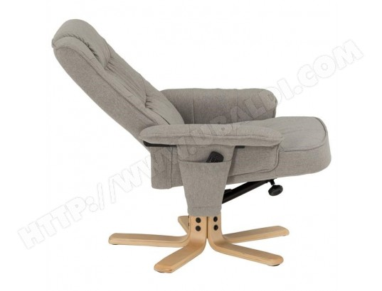Fauteuil de relaxation CHARLY avec repose-pieds pouf siège pivotant dossier  inclinable assise rembourrée relax 1b117e2af880