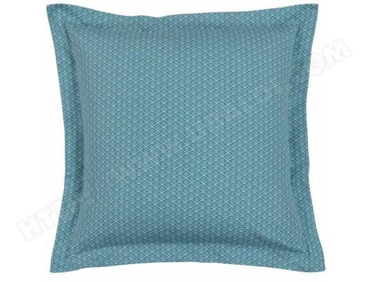 SENSEI LA MAISON DU COTON - Taie d oreiller Satin de Coton lot de 2 Imprimée  SVEA 028450.04 Aqua 63x63 25dca05ec6b9
