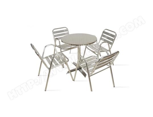 Table de jardin ronde en aluminium et 4 fauteuils TBD MA ...