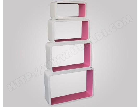 Étagères cube murale de 4 piéces coloris Pink -PEGANE- PEGANE MA ...