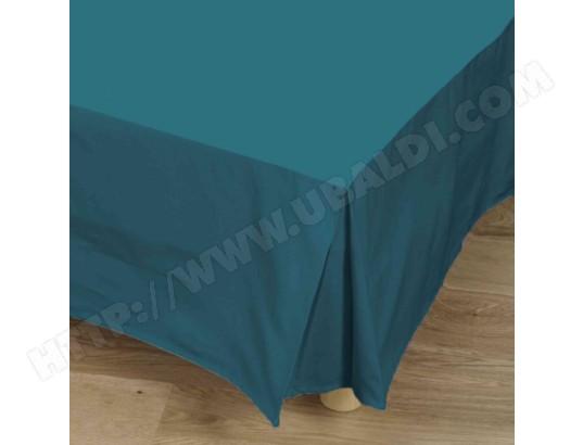Cache Sommier Bleu Canard 100 Coton 90x190 Cm Tradilinge
