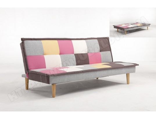 PADDY - Banquette clic clac design 3 places multicolore rose MOBILIER DECO MA-85CA94_PADD-DDP0J