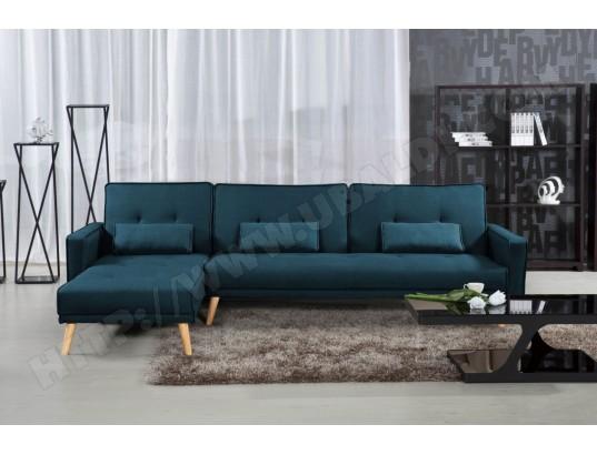 Convertible En D'angle Bleu Modulable Canapé Lea Gauche Tissu MSqUVpz