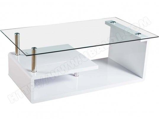 Table basse Karine - 120 x 65 x 42 cm - Blanc laqué HABITAT ET ...