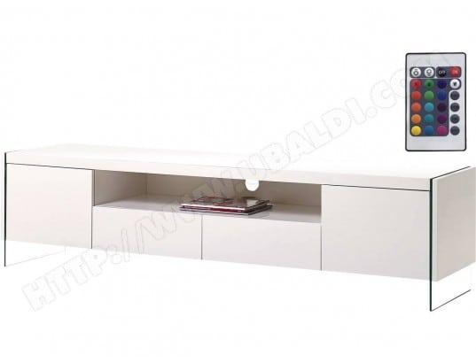 Meuble Tv Led Clara 180 X 40 X 45 Cm Blanc Laque Habitat Et