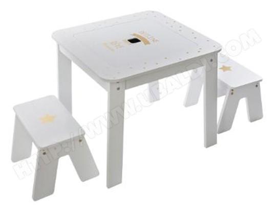 Ensemble table et 2 chaises pour enfant coloris multicolore